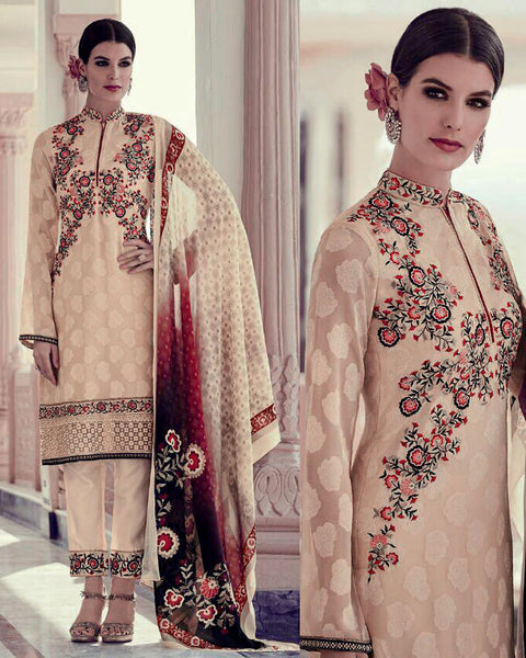 BEIGE JACQUARD GEORGETTE UNSTITCHED SALWAR KAMEEZ SUIT DRESS MATERIAL w EMBR LADIES DEN - Ladies Den
