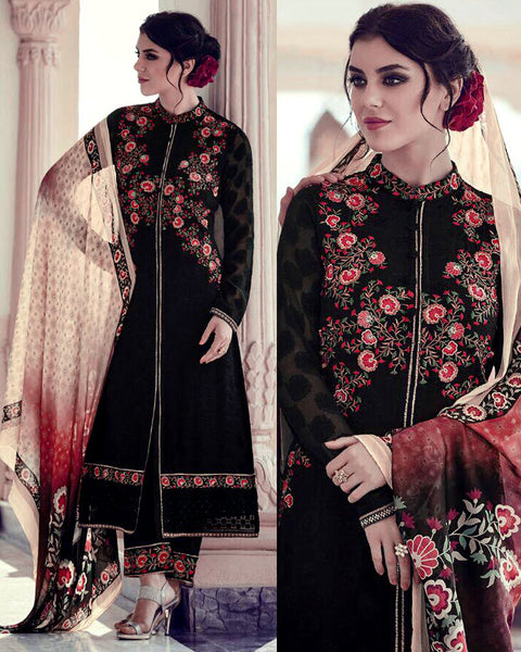 BLACK JACQUARD GEORGETTE UNSTITCHED SALWAR KAMEEZ SUIT DRESS MATERIAL w EMBR LADIES DEN - Ladies Den