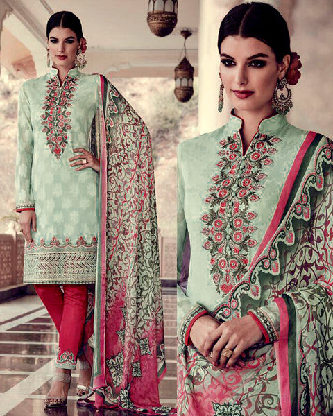 PALE MINT GREEN-CARROT RED JACQUARD GEORGETTE UNSTITCHED SALWAR KAMEEZ SUIT DRESS MATERIAL w EMBR LADIES DEN