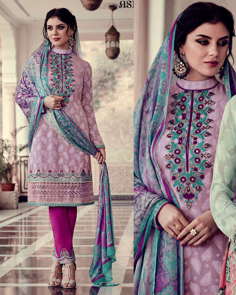 PALE PLUM PINK-DEEP PINK JACQUARD GEORGETTE UNSTITCHED SALWAR KAMEEZ SUIT DRESS MATERIAL w EMBR LADIES DEN - Ladies Den