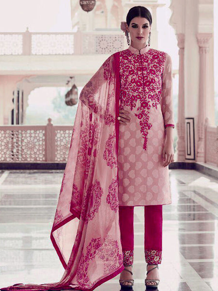 PALE BABY PINK-DEEP PINK JACQUARD GEORGETTE UNSTITCHED SALWAR KAMEEZ SUIT DRESS MATERIAL w EMBR LADIES DEN - Ladies Den