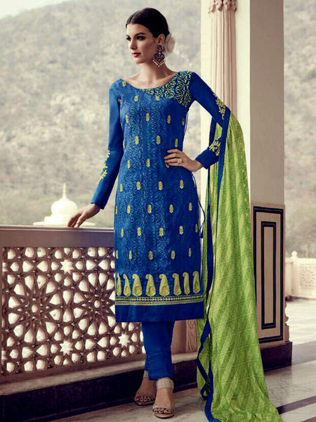 DARK BLUE GEORGETTE CHIFFON UNSTITCHED SALWAR KAMEEZ SUIT DRESS MATERIAL w EMBR LADIES DEN - Ladies Den