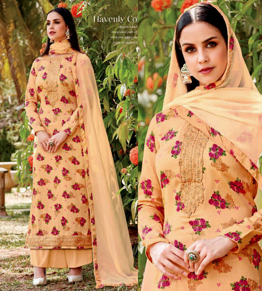 PASTEL YELLOW PRINTED SATIN COTTON UP TO READY SIZE 58 UNSTITCHED SALWAR KAMEEZ SUIT DRESS MATERIAL w EMBR LADIES DEN - Ladies Den