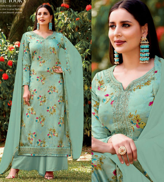 PALE TURQUOISE PRINTED SATIN COTTON UP TO READY SIZE 58 UNSTITCHED SALWAR KAMEEZ SUIT DRESS MATERIAL w EMBR LADIES DEN