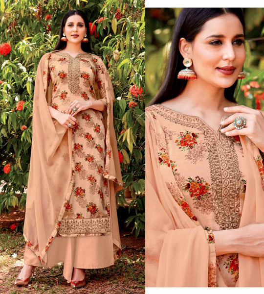 PASTEL BROWN PRINTED SATIN COTTON UP TO READY SIZE 58 UNSTITCHED SALWAR KAMEEZ SUIT DRESS MATERIAL w EMBR LADIES DEN - Ladies Den
