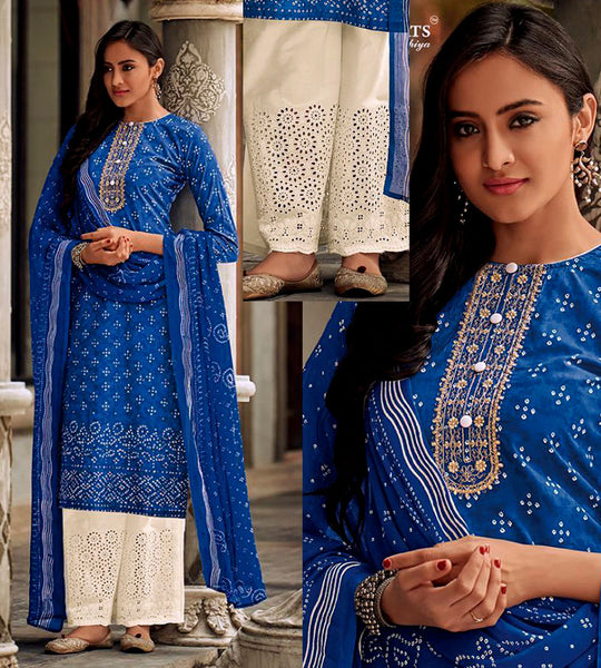 INDIGO BLUE-CREAM BANDHINI STYLE PRINTED SATIN COTTON UNSTITCHED SALWAR KAMEEZ SUIT DRESS MATERIAL w CUT WORK LADIES DEN - Ladies Den