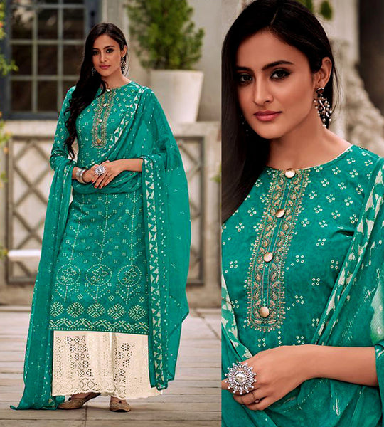 PEACOCK GREEN-CREAM BANDHINI STYLE PRINTED SATIN COTTON UNSTITCHED SALWAR KAMEEZ SUIT DRESS MATERIAL w CUT WORK LADIES DEN - Ladies Den