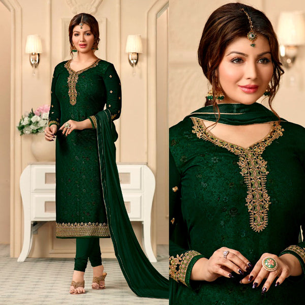 DARK GREEN GEORGETTE UNSTITCHED SALWAR KAMEEZ SUIT DRESS MATERIAL w RESHAM & ZARI EMBR LADIES DEN - Ladies Den