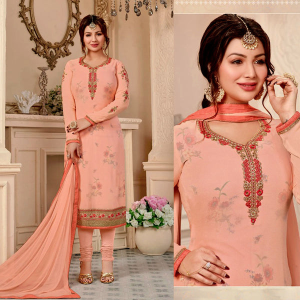 PALE PEACH PUFF GEORGETTE UNSTITCHED SALWAR KAMEEZ SUIT DRESS MATERIAL w RESHAM & ZARI EMBR LADIES DEN