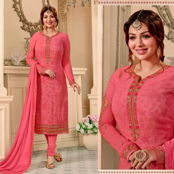 LT CARROT PINK GEORGETTE UNSTITCHED SALWAR KAMEEZ SUIT DRESS MATERIAL w RESHAM & ZARI EMBR LADIES DEN