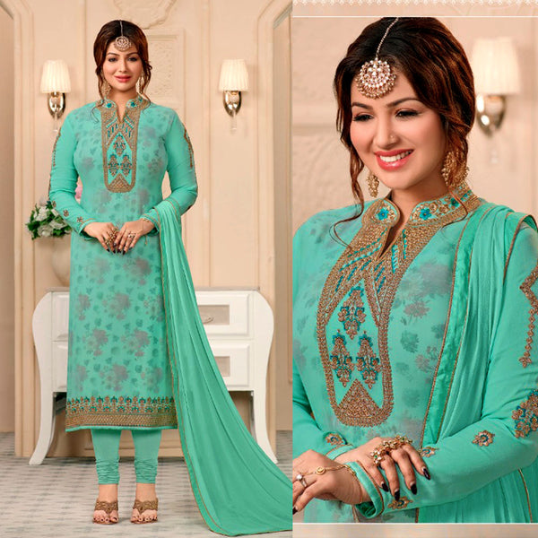 TURQUOISE GEORGETTE UNSTITCHED SALWAR KAMEEZ SUIT DRESS MATERIAL w RESHAM & ZARI EMBR LADIES DEN