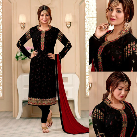 BLACK GEORGETTE UNSTITCHED SALWAR KAMEEZ SUIT DRESS MATERIAL w RESHAM & ZARI EMBR LADIES DEN - Ladies Den