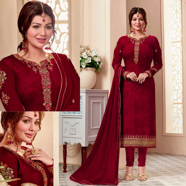 CHERRY RED GEORGETTE UNSTITCHED SALWAR KAMEEZ SUIT DRESS MATERIAL w RESHAM & ZARI EMBR LADIES DEN - Ladies Den