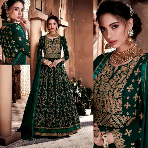 DARK GREEN GEORGETTE UNSTITCHED HEAVY ANARKALI SALWAR KAMEEZ SUIT GOWN DRESS MATERIAL LADIES DEN - Ladies Den