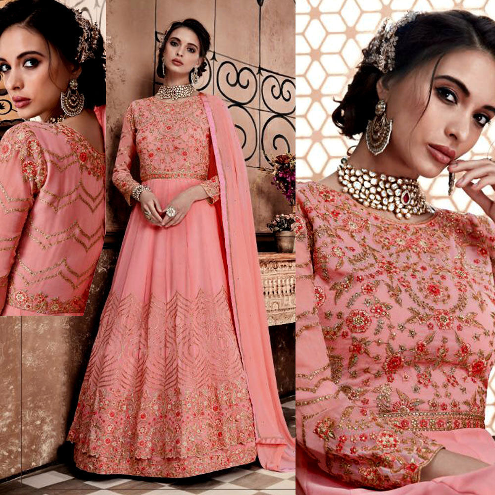 LT SALMON PINK GEORGETTE UNSTITCHED HEAVY ANARKALI SALWAR KAMEEZ SUIT GOWN DRESS MATERIAL LADIES DEN - Ladies Den