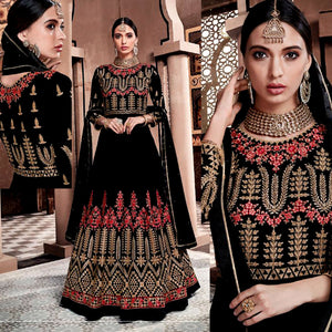 BLACK GEORGETTE UNSTITCHED HEAVY ANARKALI SALWAR KAMEEZ SUIT GOWN DRESS MATERIAL LADIES DEN - Ladies Den