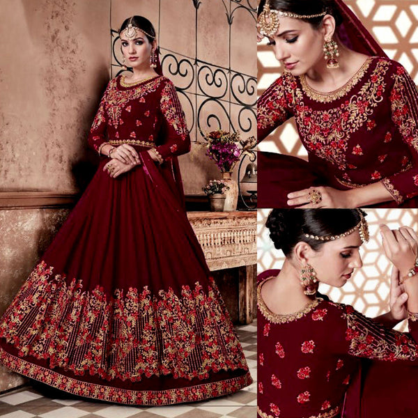 MAROON RED GEORGETTE UNSTITCHED HEAVY ANARKALI SALWAR KAMEEZ SUIT GOWN DRESS MATERIAL LADIES DEN - Ladies Den