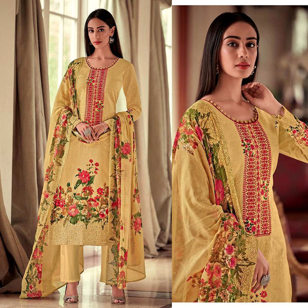 LT MUSTARD YELLOW PAKISTANI STYLE PRINTED LAWN COTTON UNSTITCHED SALWAR KAMEEZ SUIT DRESS MATERIAL w NECK EMBR LADIES DEN - Ladies Den