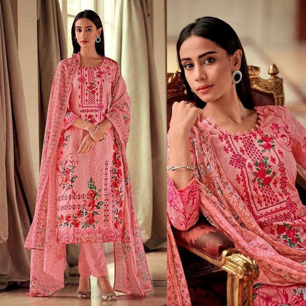 LT ROSE PINK PAKISTANI STYLE PRINTED LAWN COTTON UNSTITCHED SALWAR KAMEEZ SUIT DRESS MATERIAL w NECK EMBR LADIES DEN - Ladies Den
