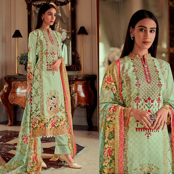 PASTEL GREEN PAKISTANI STYLE PRINTED LAWN COTTON UNSTITCHED SALWAR KAMEEZ SUIT DRESS MATERIAL w NECK EMBR LADIES DEN - Ladies Den