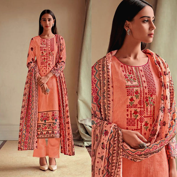 PASTEL ORANGE PAKISTANI STYLE PRINTED LAWN COTTON UNSTITCHED SALWAR KAMEEZ SUIT DRESS MATERIAL w NECK EMBR LADIES DEN - Ladies Den