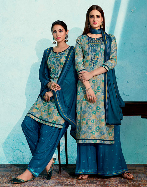 GRAY-PEACOCK BLUE PRINTED SATIN COTTON UNSTITCHED PATIALA SALWAR KAMEEZ SUIT DRESS MATERIAL UP TO READY SIZE 60 w EMBR LADIES DEN - Ladies Den