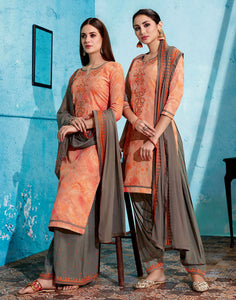 PASTEL ORANGE-MOUSE BROWN PRINTED SATIN COTTON UNSTITCHED PATIALA SALWAR KAMEEZ SUIT DRESS MATERIAL UP TO READY SIZE 60 w EMBR LADIES DEN - Ladies Den