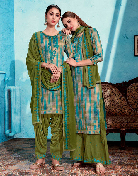 FAUN-OLIVE GREEN PRINTED SATIN COTTON UNSTITCHED PATIALA SALWAR KAMEEZ SUIT DRESS MATERIAL UP TO READY SIZE 60 w EMBR LADIES DEN - Ladies Den