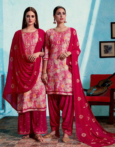 FAUN-DEEP PINK PRINTED SATIN COTTON UNSTITCHED PATIALA SALWAR KAMEEZ SUIT DRESS MATERIAL UP TO READY SIZE 60 w EMBR LADIES DEN - Ladies Den