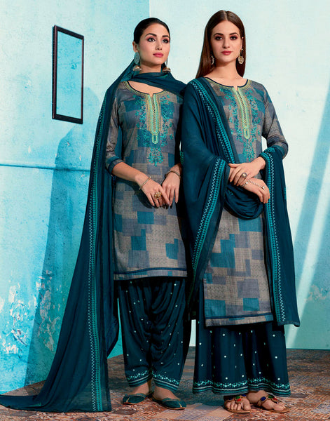 DULL NIGHT BLUE PRINTED SATIN COTTON UNSTITCHED PATIALA SALWAR KAMEEZ SUIT DRESS MATERIAL UP TO READY SIZE 60 w EMBR LADIES DEN - Ladies Den