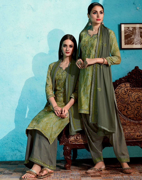 OLIVE GREEN-GRAY PRINTED SATIN COTTON UNSTITCHED PATIALA SALWAR KAMEEZ SUIT DRESS MATERIAL UP TO READY SIZE 60 w EMBR LADIES DEN