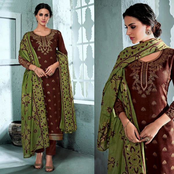 DARK SIENNA BROWN GOLDEN BLOCK PRINTED SATIN COTTON UNSTITCHED SALWAR KAMEEZ SUIT DRESS MATERIAL LADIES DEN - Ladies Den