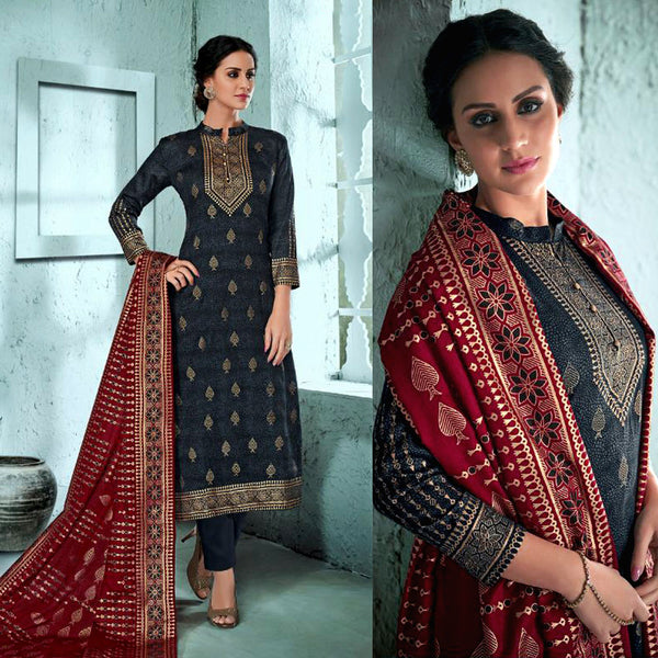 DARK SLATE GRAY GOLDEN BLOCK PRINTED SATIN COTTON UNSTITCHED SALWAR KAMEEZ SUIT DRESS MATERIAL LADIES DEN - Ladies Den