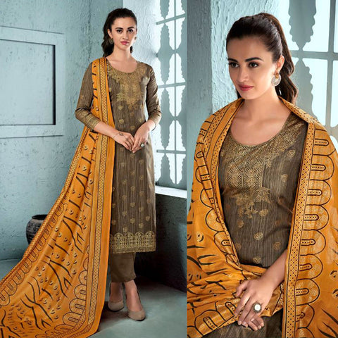 DARK KHAKI BROWN GOLDEN BLOCK PRINTED SATIN COTTON UNSTITCHED SALWAR KAMEEZ SUIT DRESS MATERIAL LADIES DEN - Ladies Den