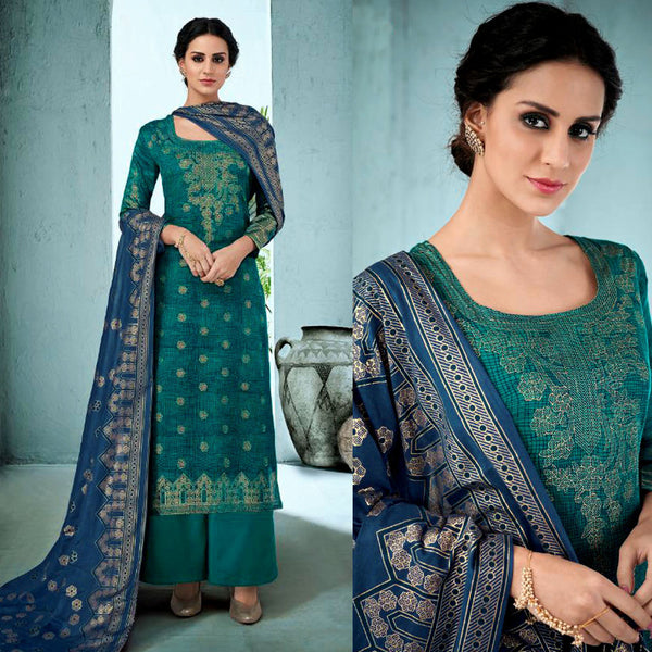DARK CYAN GOLDEN BLOCK PRINTED SATIN COTTON UNSTITCHED SALWAR KAMEEZ SUIT DRESS MATERIAL LADIES DEN - Ladies Den