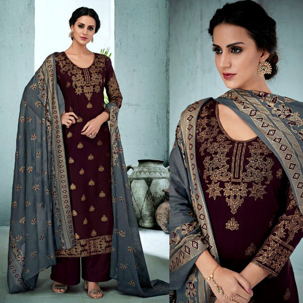 DARK COFFEE BROWN GOLDEN BLOCK PRINTED SATIN COTTON UNSTITCHED SALWAR KAMEEZ SUIT DRESS MATERIAL LADIES DEN - Ladies Den