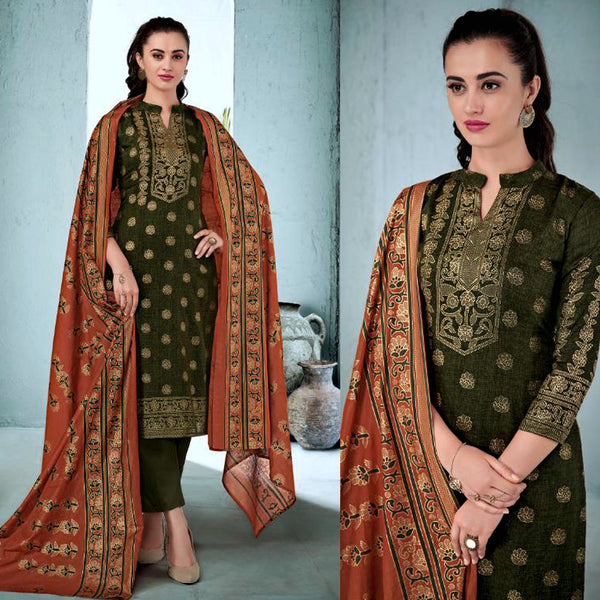 DARK OLIVE GREEN GOLDEN BLOCK PRINTED SATIN COTTON UNSTITCHED SALWAR KAMEEZ SUIT DRESS MATERIAL LADIES DEN - Ladies Den