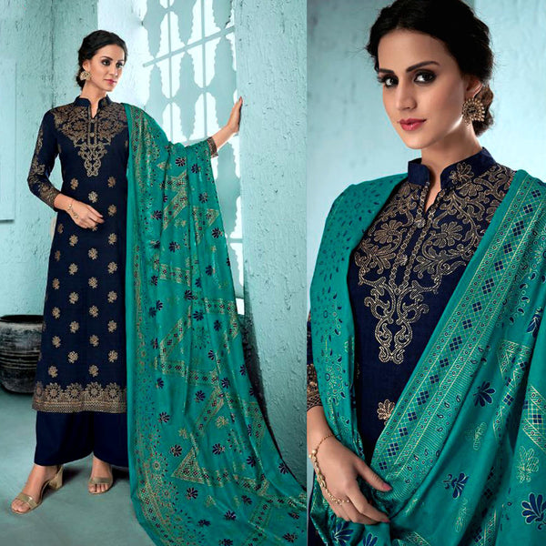 NIGHT BLUE GOLDEN BLOCK PRINTED SATIN COTTON UNSTITCHED SALWAR KAMEEZ SUIT DRESS MATERIAL LADIES DEN - Ladies Den
