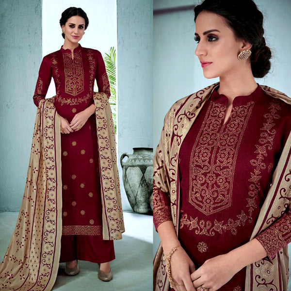 MAROON RED GOLDEN BLOCK PRINTED SATIN COTTON UNSTITCHED SALWAR KAMEEZ SUIT DRESS MATERIAL LADIES DEN - Ladies Den