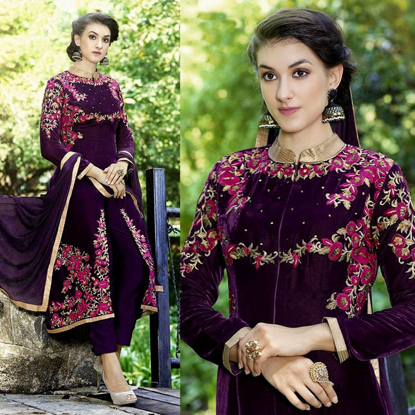 DARK BURGUNDY VELVET UNSTITCHED SALWAR KAMEEZ SUIT DRESS MATERIAL HEAVY EMBR LADIES DEN