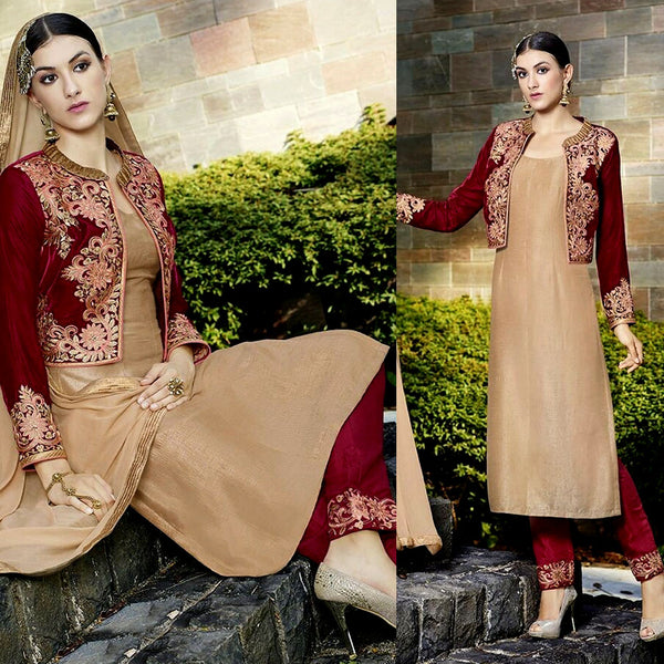 MAROON RED-KHAKI BROWN VELVET-RAW SILK JACKET STYLE UNSTITCHED SALWAR KAMEEZ SUIT DRESS MATERIAL ZARI EMBR LADIES DEN