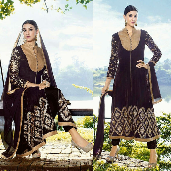DARK COFFEE BROWN VELVET UNSTITCHED ANARKALI SALWAR KAMEEZ SUIT DRESS MATERIAL ZARI EMBR LADIES DEN