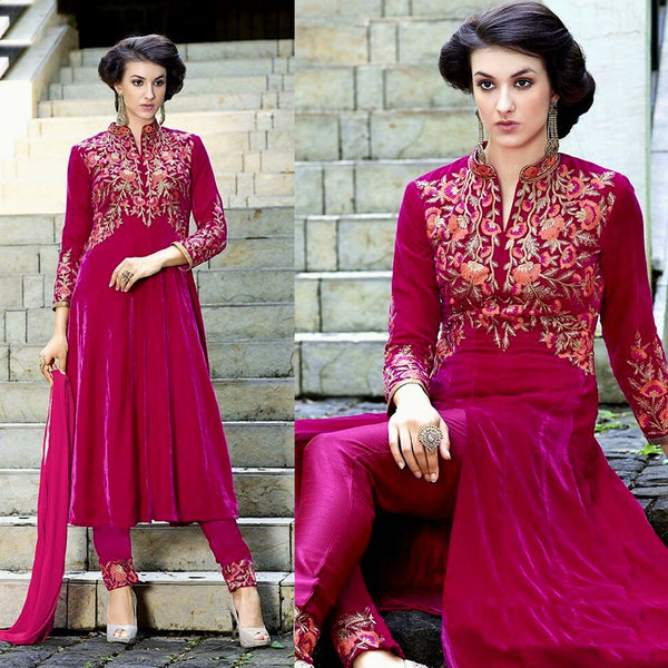 DEEP PINK VELVET UNSTITCHED ANARKALI SALWAR KAMEEZ SUIT DRESS MATERIAL ZARI EMBR LADIES DEN
