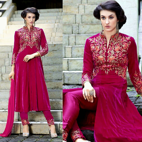 DEEP PINK VELVET UNSTITCHED ANARKALI SALWAR KAMEEZ SUIT DRESS MATERIAL ZARI EMBR LADIES DEN - Ladies Den