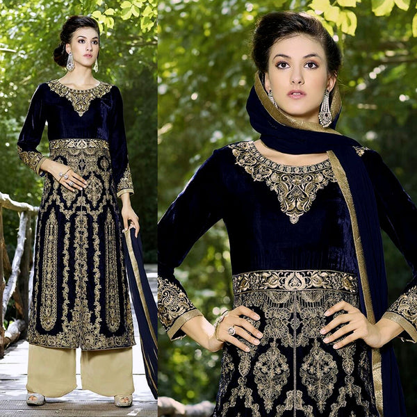 NIGHT BLUE VELVET UNSTITCHED SALWAR KAMEEZ SUIT DRESS MATERIAL HEAVY EMBR LADIES DEN - Ladies Den