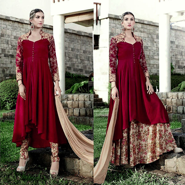 MAROON RED VELVET UNSTITCHED ANARKALI SALWAR KAMEEZ SUIT DRESS MATERIAL ZARI EMBR LADIES DEN - Ladies Den