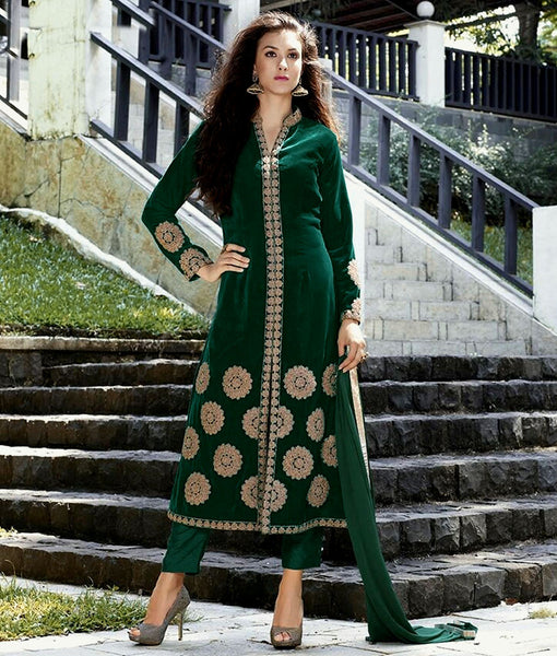 DARK GREEN SHERWANI STYLE VELVET UNSTITCHED SALWAR KAMEEZ SUIT DRESS MATERIAL w DORI WORK LADIES DEN - Ladies Den