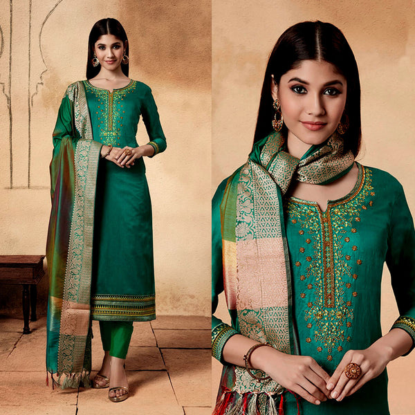 PEACOCK GREEN CHANDERI SILK BANARASI DUPATTA UNSTITCHED SALWAR KAMEEZ SUIT DRESS MATERIAL w BEADS WORK LADIES DEN - Ladies Den