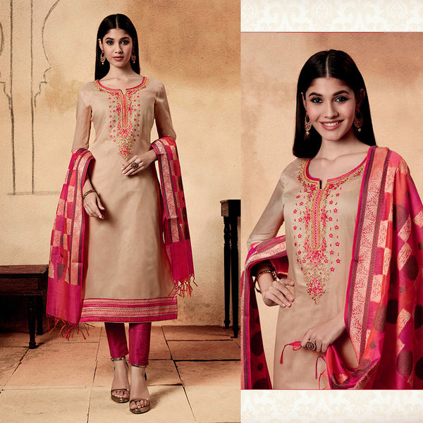 BEIGE-CARROT PINK CHANDERI SILK BANARASI DUPATTA UNSTITCHED SALWAR KAMEEZ SUIT DRESS MATERIAL w BEADS WORK LADIES DEN - Ladies Den