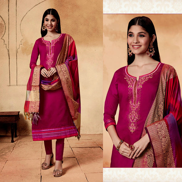 MAGENTA PINK CHANDERI SILK BANARASI DUPATTA UNSTITCHED SALWAR KAMEEZ SUIT DRESS MATERIAL w BEADS WORK LADIES DEN - Ladies Den